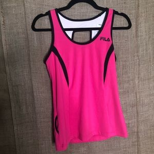 File Sport SZ S Pink Black Tank Top Gym Workout
